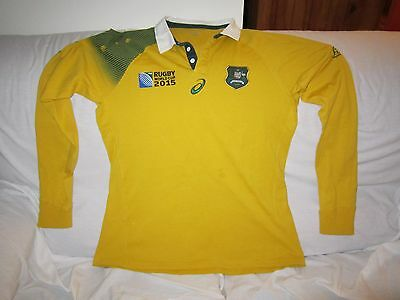 Wallabies 2015 Asics Long Sleeve Polo Shirt Top Tight Size Xl