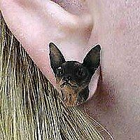 Conversation Concepts Miniature Pinscher Black and Tan Post Earrings