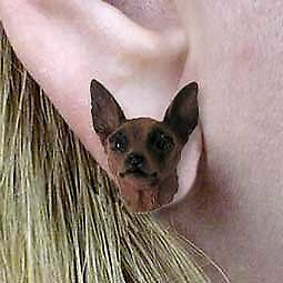 Conversation Concepts Miniature Pinscher Red and Brown Post Earrings