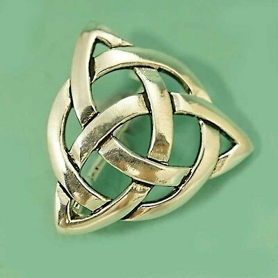 Beautiful Silver Plated Celtic Triquetra Trinity  Brooch Pin