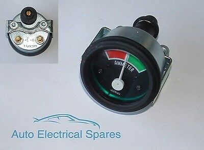 "CLASSIC CAR 2"" 52mm 60 / 60 ammeter 12v ILLUMINATED GREEN"