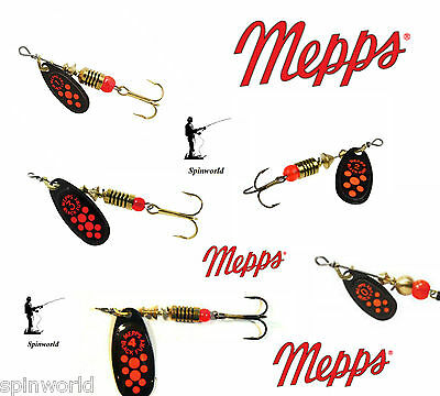 Mepps Black Fury orange / red dots VARIETY SIZES SPINNERS