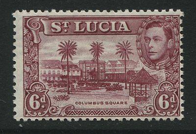 St Lucia: 1948 George VI 6d stamp - Perf 12 - claret SG134b MM ZZ307