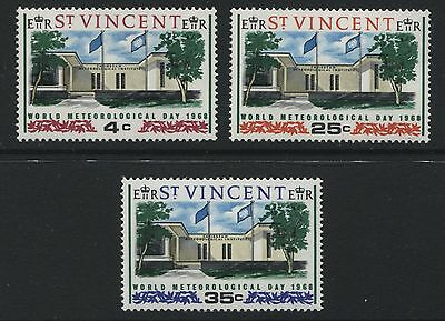 St Vincent: 1968 World Meteorological Day set of 3 Stamps SG262-264 MNH ZZ076