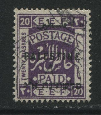 Palestine: 1922 EEF 20 piastres stamp - bright violet Perf 15x14 SG89 Used ZZ069
