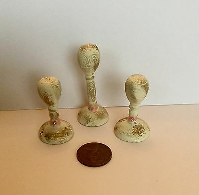 1:12  Dolls House miniature  3 SHABBY CHIC HATSTANDS WITH PINK RIBBON