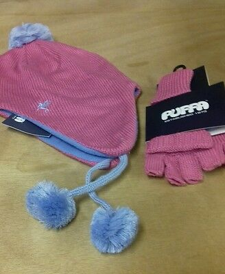 Childs pink puffa hat and gloves set