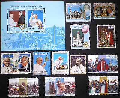 Pope John Paul II MNH** nice group of stamps + SS Peru Colombia Poland etc..