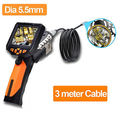 """3.5"""" LCD Video Inspection Borescope Endoscope Pipe 5.5mm Snake Scop LED Camera"""