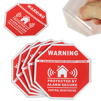 5pcs New Home Alarm Security Burglar Decals Warning Signs Window Door Stickers