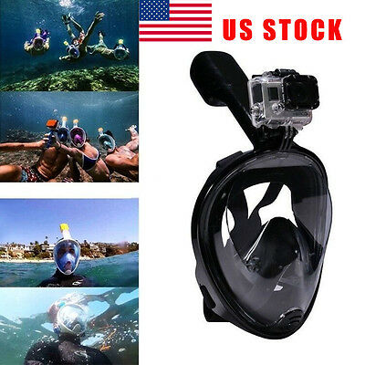 US STOCK Swimming Full Face Mask Surface Diving Snorkel Scuba for GoPro S/M/L/XL