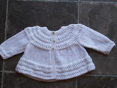 Handmade Baby Girl's/Boy's Unisex White Knitted Cardigan Size 000