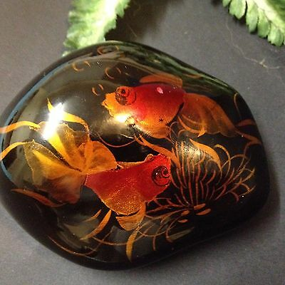 Asian Lacquered River Rock - Pair of Koi Goldfish -  Paperweight / Scholar Stone