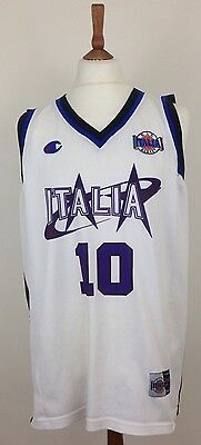 Italy Italia Men's Retro Champion Basketball Jersey Top Vest White Purple XL #10