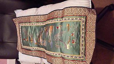 vintage chinese tapestry silk and fabric