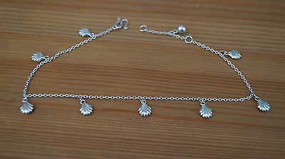 Unbranded 925 Hallmarked Silver Modern Shell Charm Ankle With Bell & Snake Clasp