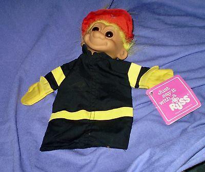 """Vintage """"russ"""" Troll, Fireman, Glove Puppet, With  Original Tag"""