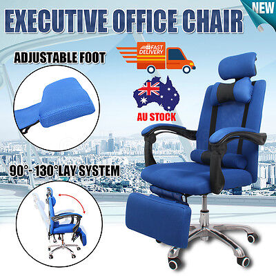 Executive Mesh Office Computer Chair Seat Recliner Footrest Adjustable High Back