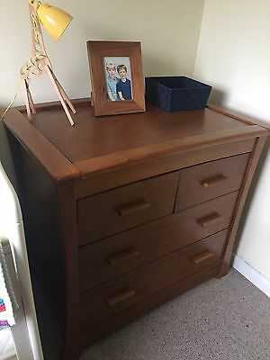 Solid dark oak Drawers With Changing Unit Top Mamas And papas Ocean Range