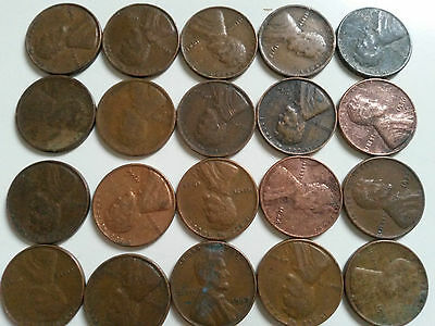 USA: 25 x 1 Cent coins. Old Style. Different grades / year of mintage.