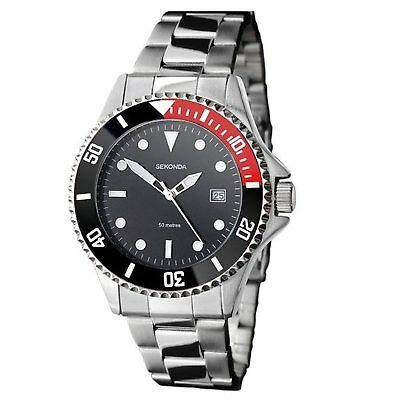 Sekonda Mens Black Dial Bracelet Watch 3078 RRP £49.99