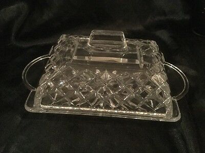 Crystal Diamond Cut Cheese/ Butter covered dish