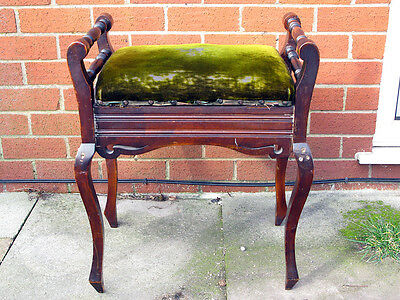 Vintage Antique Piano Stool in Green with under seat Storage and Handles