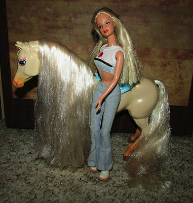 Genuine Mattel Barbie Articulated Horse With Saddle