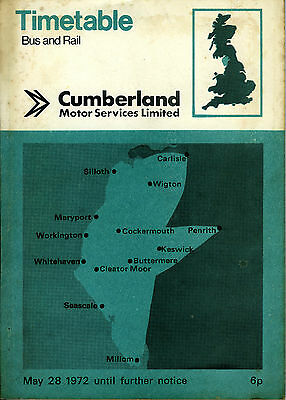CUMBERLAND Motor Services Bus Timetable MAY 1972