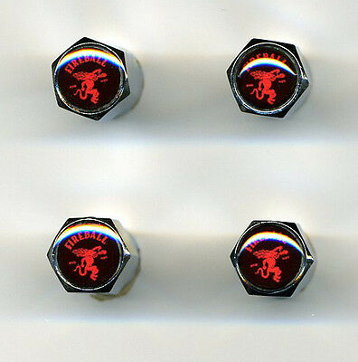Fireball Whisky 4 Chrome Plated Brass Tire Valve Caps Car/Bike/Golf Carts