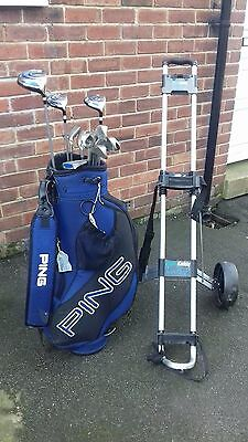 Set of Ping G5 Golf Clubs and Trolley