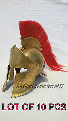 Reenactment Medieval Collectible Armour Spartan Helmet Red Plume Lot Of 10 Pcs..
