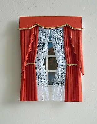 Dollshouse Curtains Orange  Swag With Tied Nets