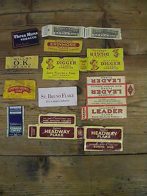 Ten Vintage Tobacco Packets - Leader, Digger, Headway Etc