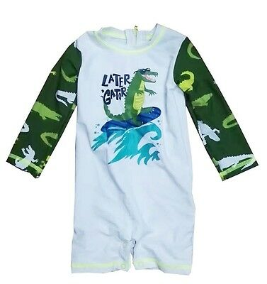 Newborn Infant Baby Boys Sunsuits Beah Dragon Long Sleeve Rash Guard Swimsuits