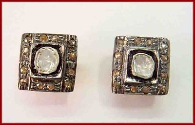 Victorian 0.70 ct Antique Cut Diamond & Polki Silver Earrings,Shipping Worldwide