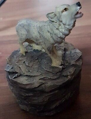 Wolf Trinket Box, Hand Painted, New, Uk Supplier.