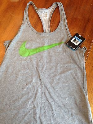 NWT.Women's Nike athletic cut, racer back tank top. Gray and green. Size Medium.
