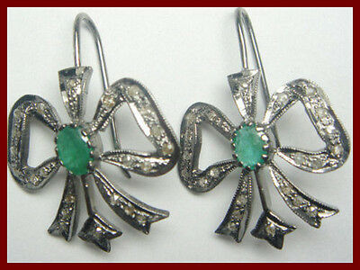 0.88 Ct Natural Rose Cut Diamond Emerald Mughal Inspried Wedding Earrings