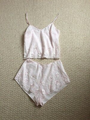 Ladies Marks & Spencer Pale Pink Camisole Top & French Knickers Set