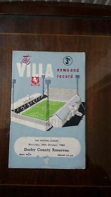 Aston Villa Res V Derby County Res Central League 1960