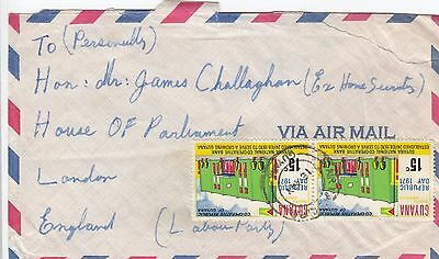 N 28 Guyana 1971?  cover to James Callaghan future PM of UK; 2 stamps; 30c rate