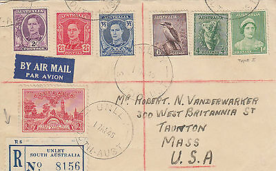 N 525 Australia Unley SA registered  1948 cover USA; 1/9d rate; 7 stamps