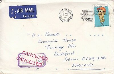 N 512 Townsville Qld air 1981 cover UK; 22c Darby Munro jockey stamp underpaid T