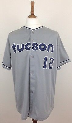 Tucson Padres Men's Grey Blue White Baseball Jersey Top Shirt XL Number 12