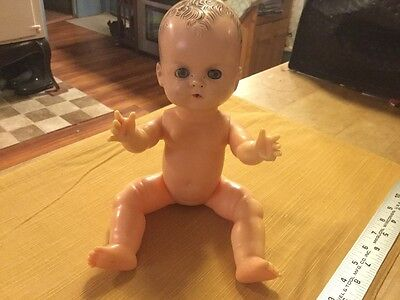 "Early 1950s Small 11"" Early Tiny Tears Baby Doll Hard Plastic Vinyl Pat # only"