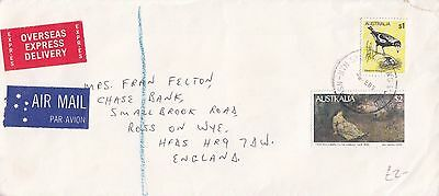 P 1617 OExpressD 1983 airmail cover to UK; $4 rate; McCubbin painting stamp