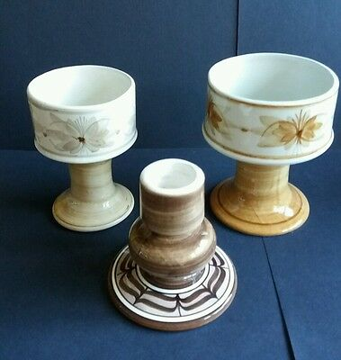 2 x Pedestal Vases and a Candlestick -Jersey Pottery