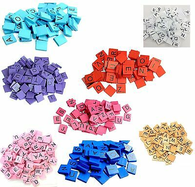 100 Wooden Plastic Scrabble Tiles Black Letters Numbers For Craft Wood Alphabets
