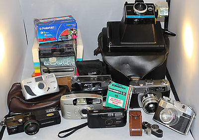 Job Lot of Vintage Film Cameras, Polaroid, Halina, Bencini Etc Spares and Repair
